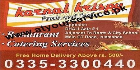 Karnal Krispy Restaurant & Catering Services – DHA II, IBD