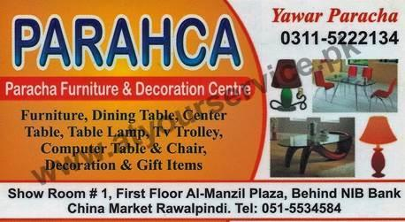 Paracha Furniture Decoration Yawar China Market Rawalpindi