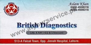 British Diagnostics (Lab, X Ray, ECG, Ultrasound) - Opp Jinnah Hospital, Faisal Town, Lahore