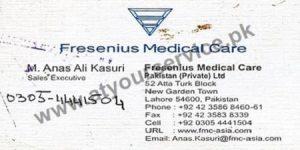 Fresenius Medical Care Pakistan (Anas Ali Kasuril, Sales Executive) - Ata Turk Block New Garden Town, Lahore