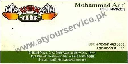 Central Perk Cafe – Park Avenue, University Town, Peshawar