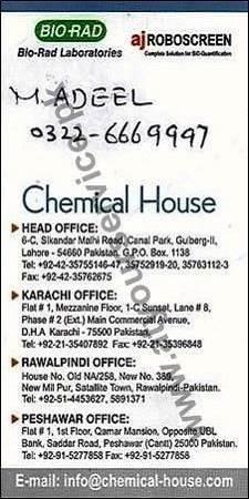 Chemical House (Head Office) – Sikandar Malhi Road, Canal Park Gulberg II, Lahore