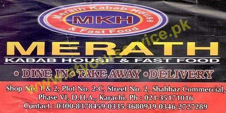 Merath Kabab House & Fast Food – Shahbaz Commercial, DHA Phase 6, Karachi