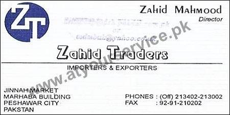 Zahid Traders, Importers Exporters – Marhaba Building, Jinnah Market