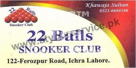 22 Balls Snooker Club – Ferozepur Road, Ichra, Lahore