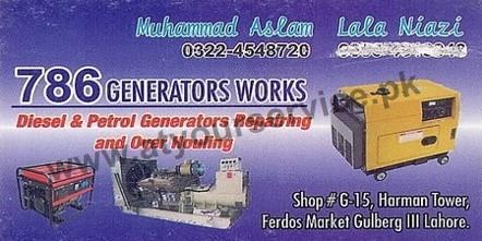 786 Generators Works – Haram Tower, Firdous Market, Gulberg III, Lahore