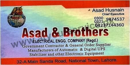 Asad & Brothers – Sanda Road, National Town, Lahore