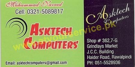 Asktech Computers JCC Building Grindlays Market Haider Road Rawalpindi