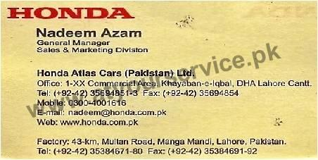 Honda Atlas Cars Multan Road Manga Mandi Lahore Pakistan S