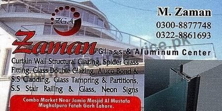Zaman Glass & Aluminium Center - Combo Market, Mughalpura