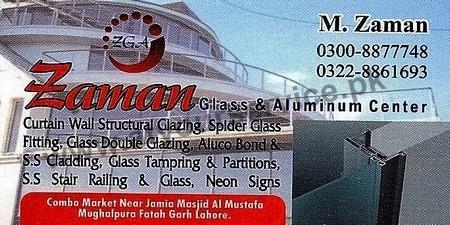 Zaman Glass & Aluminium Center – Combo Market, Mughalpura, Fateh