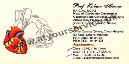 Professor Dr. Zubair Akram (Cardiologist) – Omar Cardiac Centre, Jail Road, Lahore