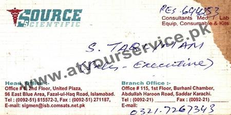 Source Scientific – United Plaza, Blue Area, Islamabad