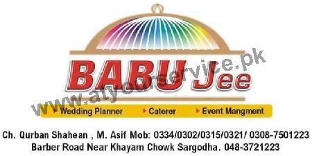 Babu Jee Tent & Catering Service – Khayyam Chowk, Babar Road, Sargodha