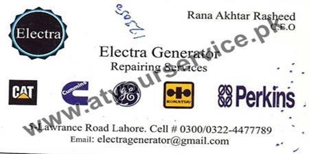 Electra Generator Repairing Services – Lawrence Road, Lahore