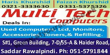 Multi Tech Computers Green Bulding Haider Road Saddar Rawalpindi