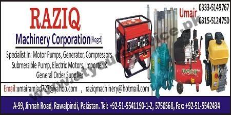 Raziq Machinery Corporation – Jinnah Road, Rawalpindi – Pakistan's