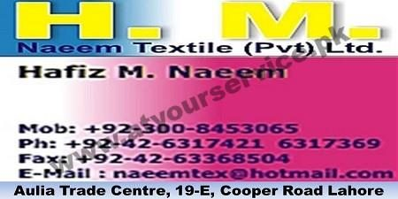 H M Naeem Textile - Aulia Trade Centre, Cooper Road, Lahore