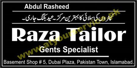 Raza Tailor (Gents Specialist) – Dubai Plaza, Pakistan Town, Islamabad