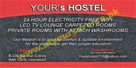 Your's Hostel - Gulistan Colony, Wah Cantt - Pakistan's